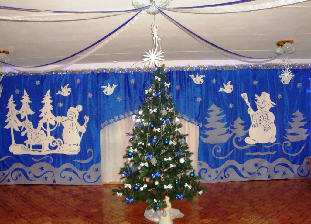 Фото как украсить зал на новый год
