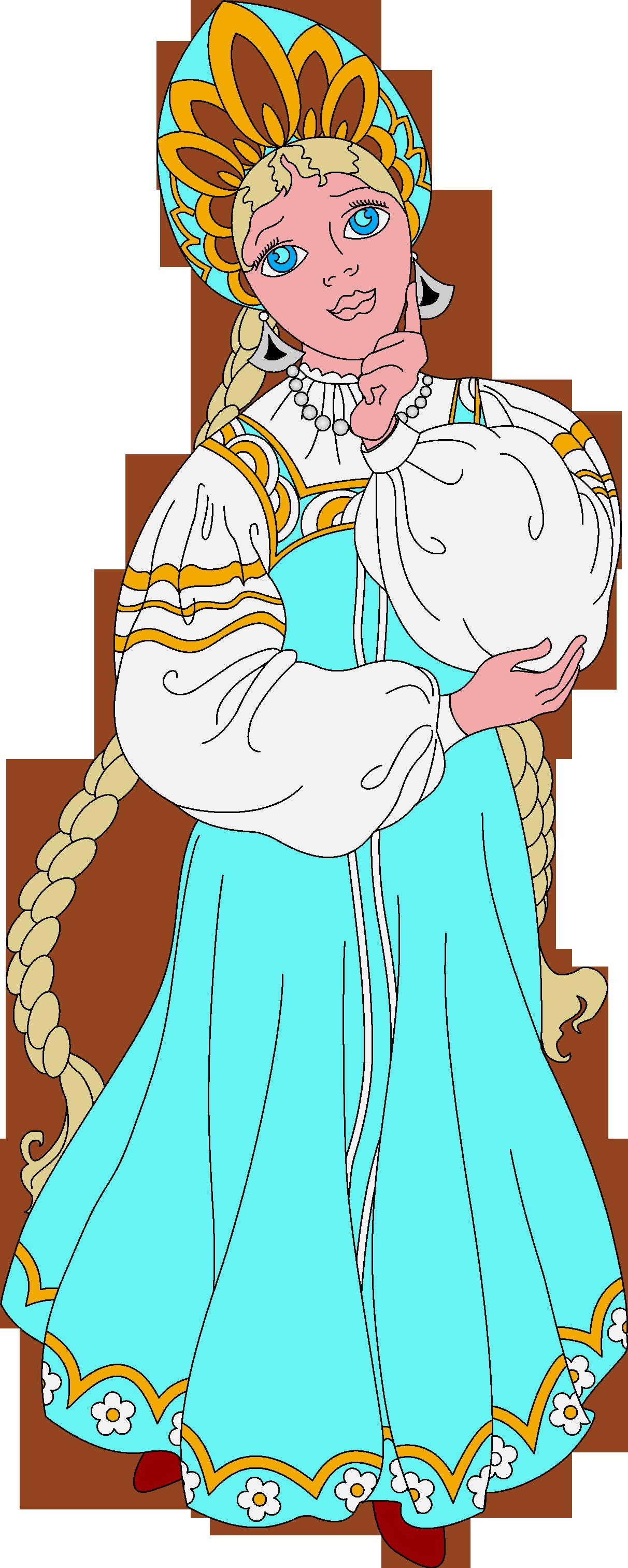 Раскраска женский образ русских сказок